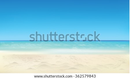 Seaside view, summer beach, vacation background. Vector eps10 illustration.  - stock vector