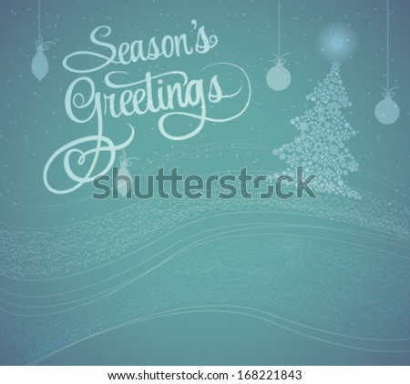 Season Greetings Card | Winter Snowy Background | Abstract Style - stock vector