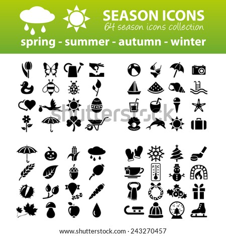 season icons - stock vector