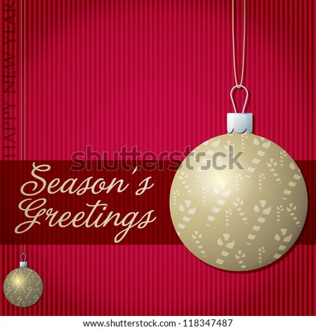Season's Greetings candy cane bauble card in vector format. - stock vector