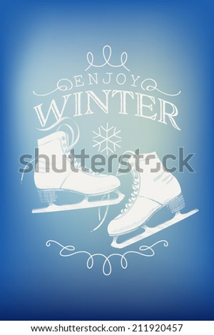 Season's greetings card vector template with abstract winter sky background featuring ice skates | Winter postcard design elements | Stylish christmas holidays decoration - stock vector