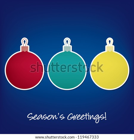 Season's Greetings sticker bauble card in vector format. - stock vector
