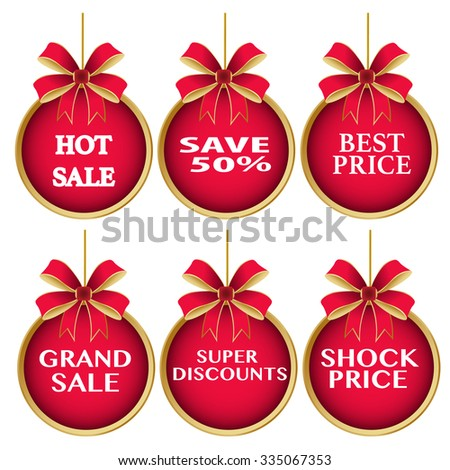Season Sale ,Present by Shock Price ,hot sale, best price,grand sale,super discounts,shock price,save50%on red  christmas ball Isolated on White Background - stock vector