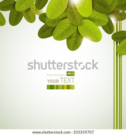 Season tree with green oval leaves - stock vector