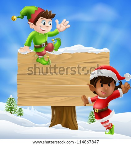 Seasonal cartoon of two Christmas elves and a sign in the snow with Christmas trees in the background. - stock vector
