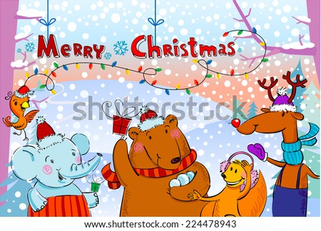 Seasonal greetings, illustration of cute animals. - stock vector
