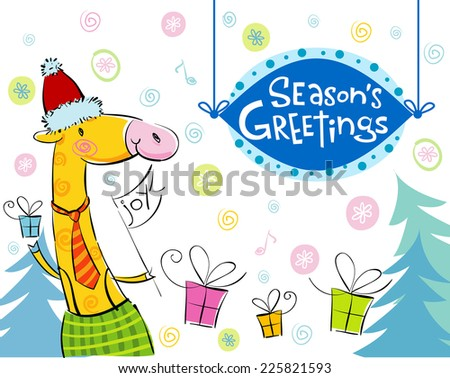 Seasonal greetings, illustration of cute giraffe. For banners, backgrounds, presentations, decorations.  - stock vector