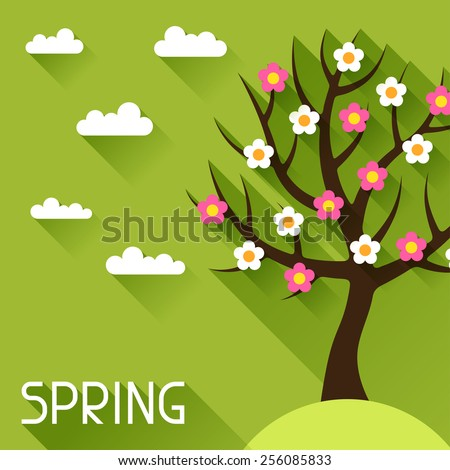 Seasonal illustration with spring tree in flat design style. - stock vector
