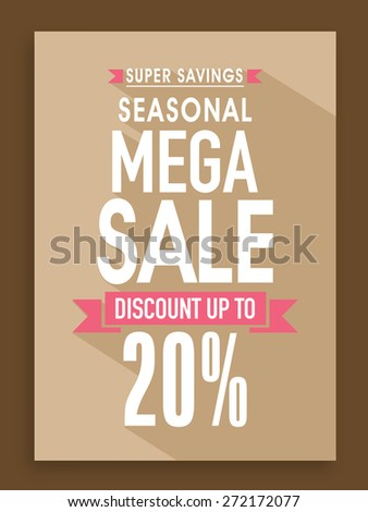 Seasonal Mega Sale poster, banner or flyer design with 20% discount offer. - stock vector