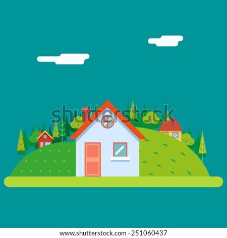 Seasons Change Summer Village Hills Field Landscape Icon Website Greeting Card Flat Design Vector Illustration - stock vector