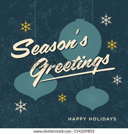 Seasons greetings card retro vintage - stock vector