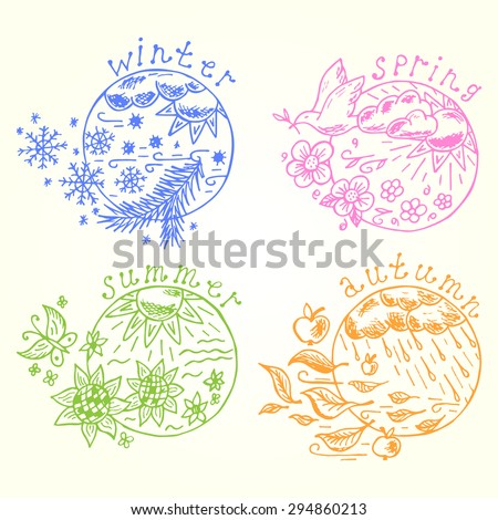 Seasons set. Four seasons icons Hand drawn doodles. Times of year. Weather.  Nature background. - stock vector