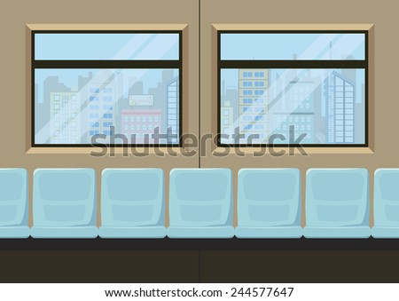 seat inside metro city transportation, vector illustration - stock vector