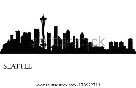 Seattle city skyline silhouette background, vector illustration  - stock vector