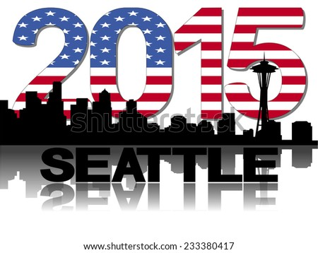 Seattle skyline 2015 flag text - stock vector