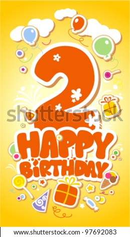 Second Happy Birthday card. - stock vector