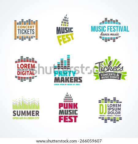 Second music equalizer emblem elements set separated - stock vector
