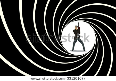 Secret agent. Posing on camera. Vector illustration - stock vector