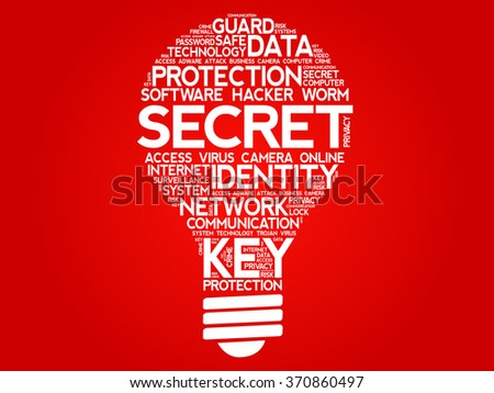 SECRET bulb word cloud, business concept - stock vector