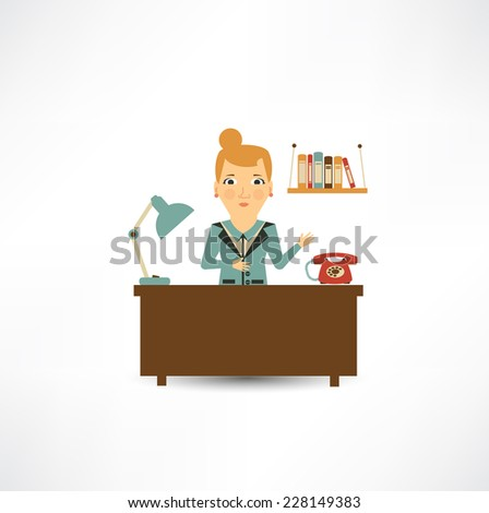 secretary on a workplace - stock vector