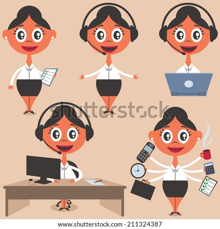 Secretary: Set of 5 secretary illustrations. No transparency and gradients used. - stock vector