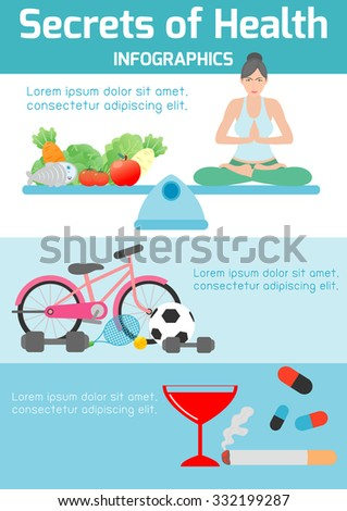 secrets of health ,health tips for you,yoga,exercise, healthy foods, meditating, banner header, healthcare concept, elements infographic, vector flat modern icons design vector illustration. - stock vector