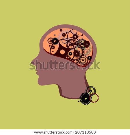 Section of a human head with gears inside - stock vector