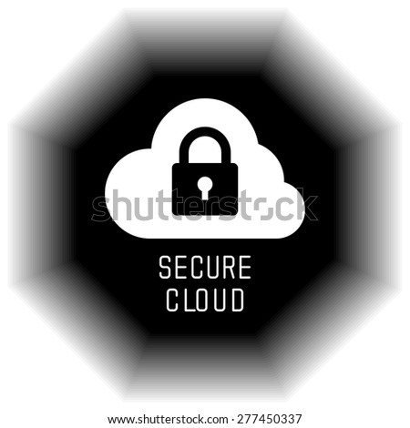 Secure Cloud Technology. Cloud and padlock. Protected cloud computing service concept. Vector Illustration of protected computer server - stock vector