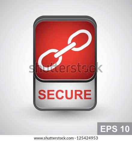 Secure icon. Vector button - stock vector
