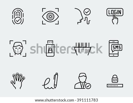 Secure identity verification systems icon set in thin line style - stock vector