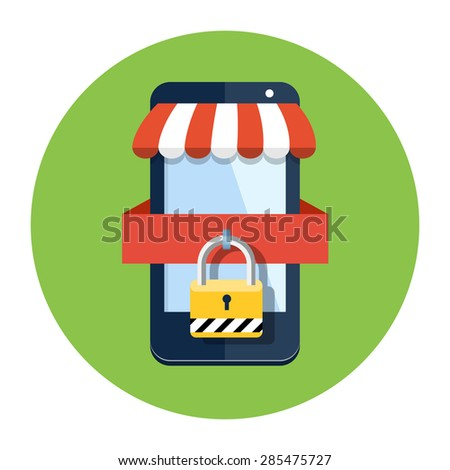 Secure shopping icon - stock vector