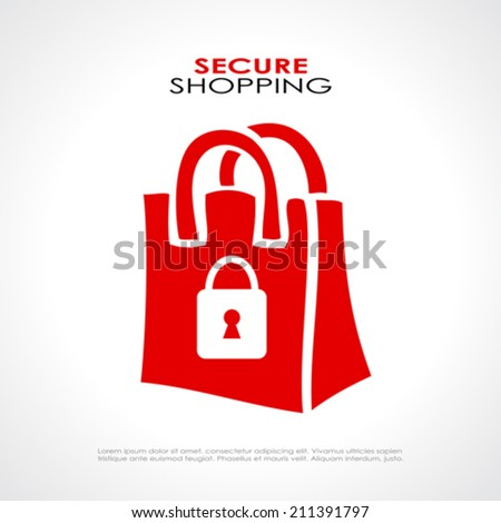 Secure shopping symbol - stock vector