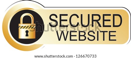 Secure Website Gold Sticker - stock vector