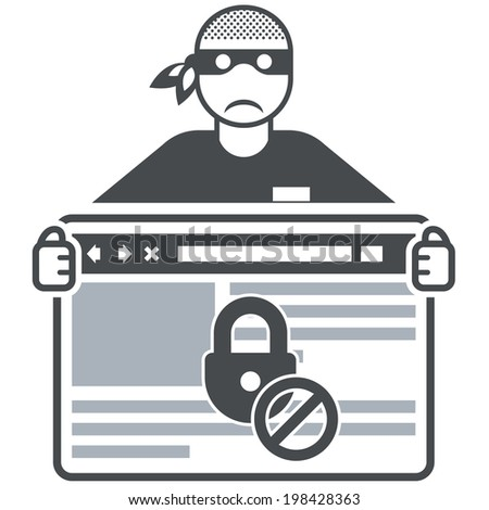 Secure website - internet swindler (hacker) and browser window - stock vector