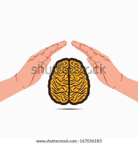 secure your brain or brain under hand vector - stock vector