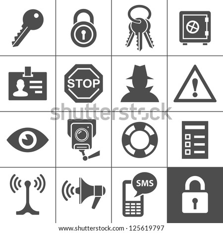Security and warning icons. Simplus series. Vector Illustration - stock vector