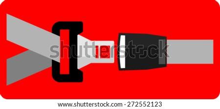 security belt, sticker - stock vector