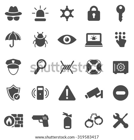 Security black icons set.Vector - stock vector