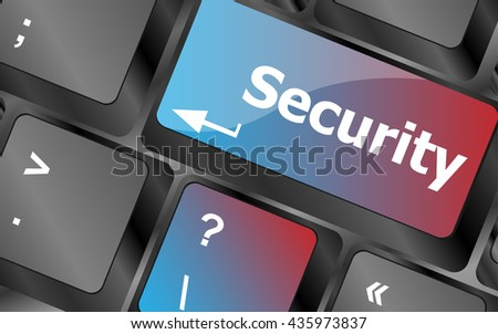 security button on the keyboard key, business concept . keyboard keys. vector illustration - stock vector