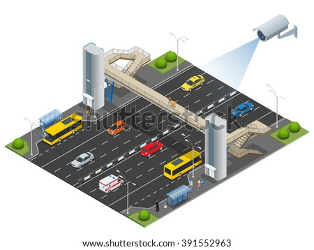 Security camera detects the movement of traffic. CCTV security camera on isometric illustration of traffic jam with rush hour. Traffic 3d isometric vector illustration. Traffic monitoring CCTV - stock vector