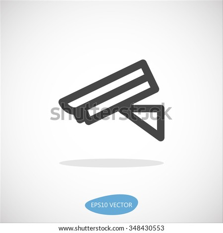 Security Camera Icon - Isolated Vector Illustration. Simplified line design. - stock vector