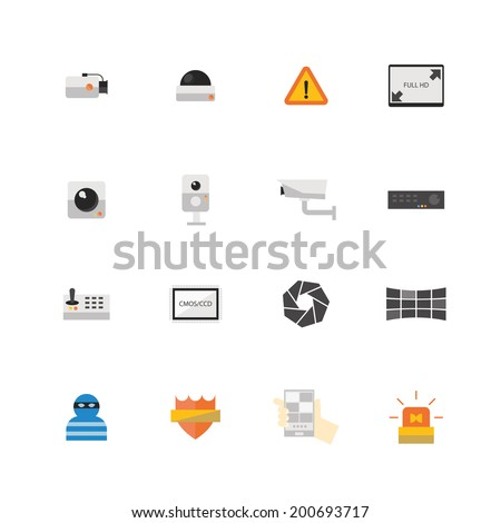Security camera or CCTV icon set, Vector illustration design. - stock vector