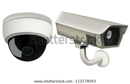 Security camera set - stock vector