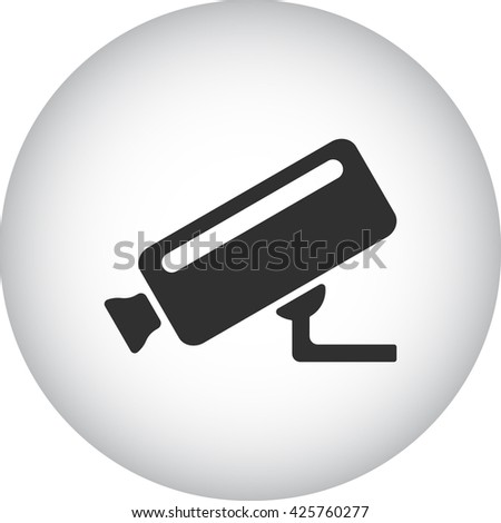 Security camera sign simple icon on  background - stock vector