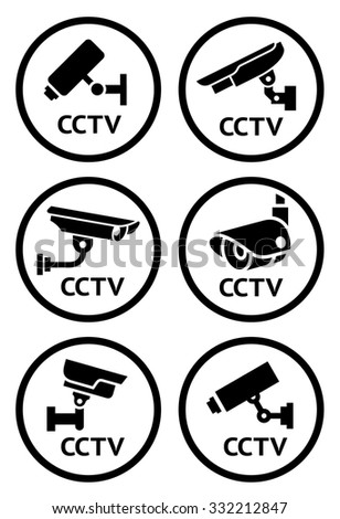 Security camera symbols set, vector illustration - stock vector