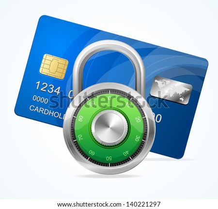 Security Card Concept. Vector padlock - stock vector