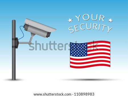 security cctv camera with open lens and wires on pole, usa flag - stock vector