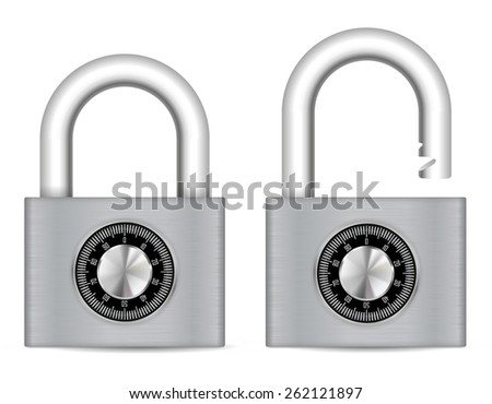 Security Combination Padlock  Locked and unlocked . Vector Illustration isolated on white background. - stock vector