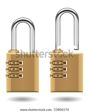 Security Combination Padlock Vector - stock vector