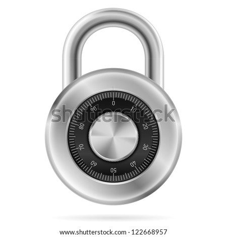 Security concept with locked combination pad lock.  Illustration of designer on white background - stock vector